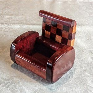 Curved Edge Marquetry Solid Wood Box